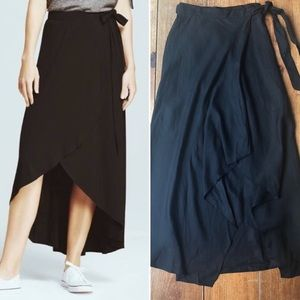 WHBM Maxi Wrap Skirt Black Linen Blend High-Low